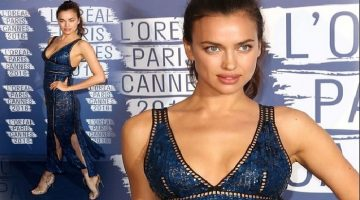 Irina Shayk is an effortless Beauty in plunging Sequin Dress at Cannes Party