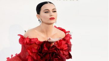 Katy Perry looks Red Hot in Flamenco-style Dress as she joins Orlando Bloom at amfAR Gala